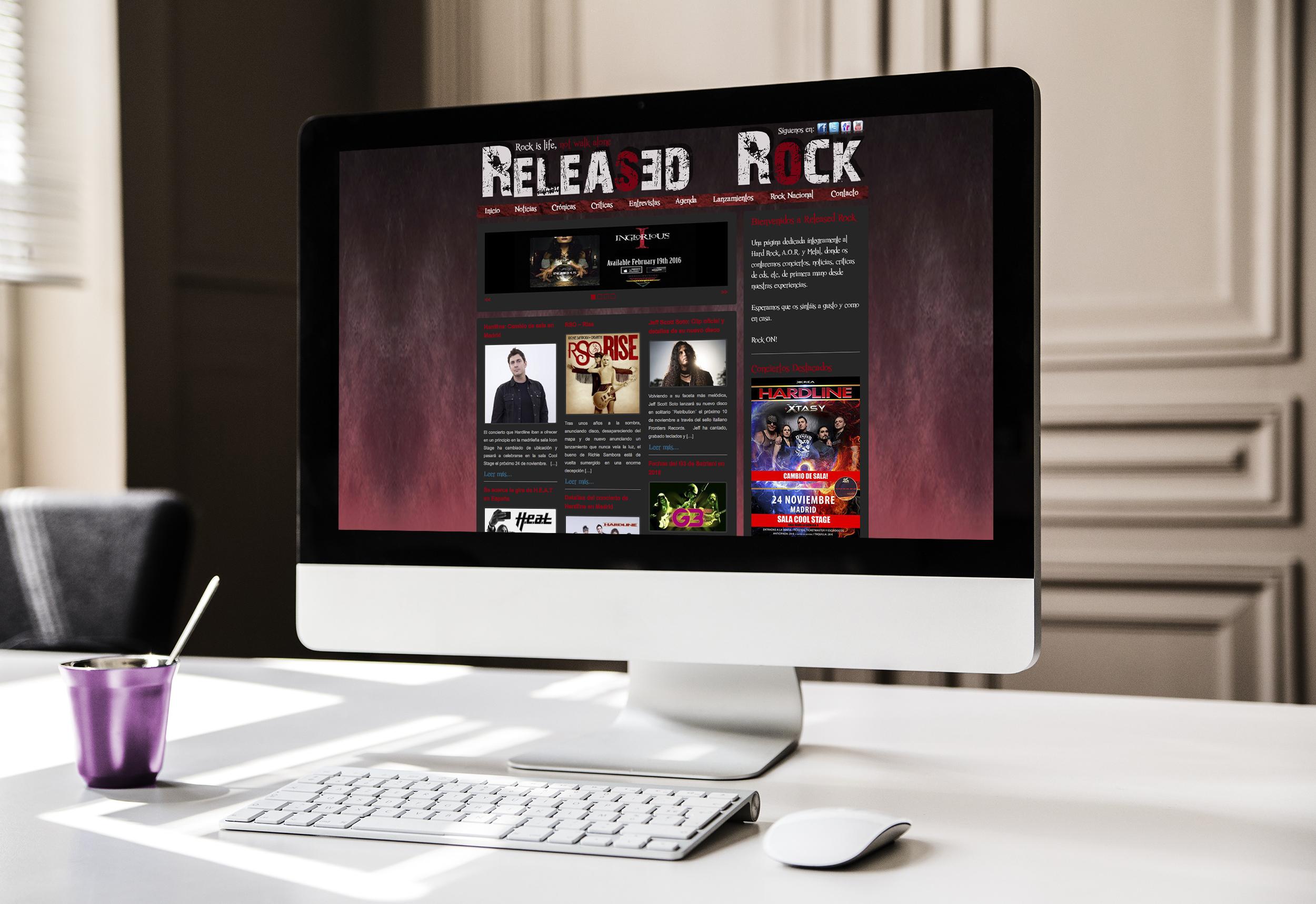 Estudio Creativo, diseño gráfico, Branding, Web, Diseño Logotipo, tarjetas de visita, Servilletas, Posavasos, Cartelería exterior, Menú, Madrid, Released Rock, Hard Rock, Heavy Metal, Web, 8 Purple.